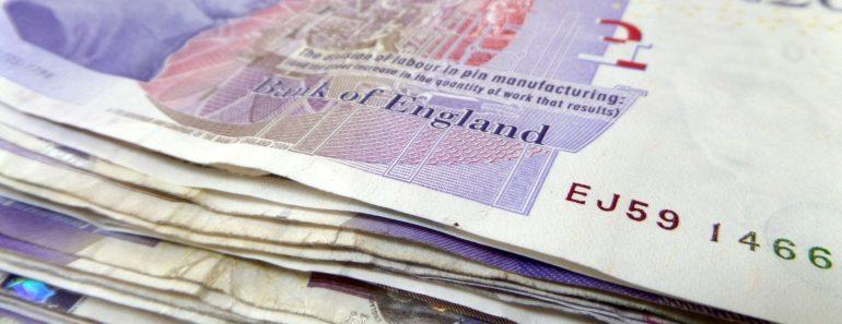 A stack of twenty pound notes