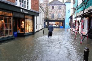 A flooded British street