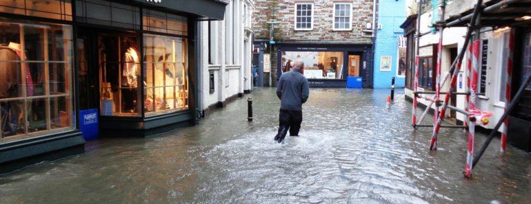 A flooded British street