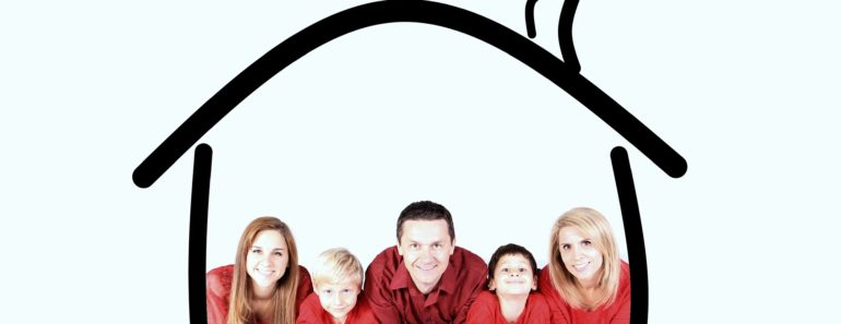 A family and house insurance concept
