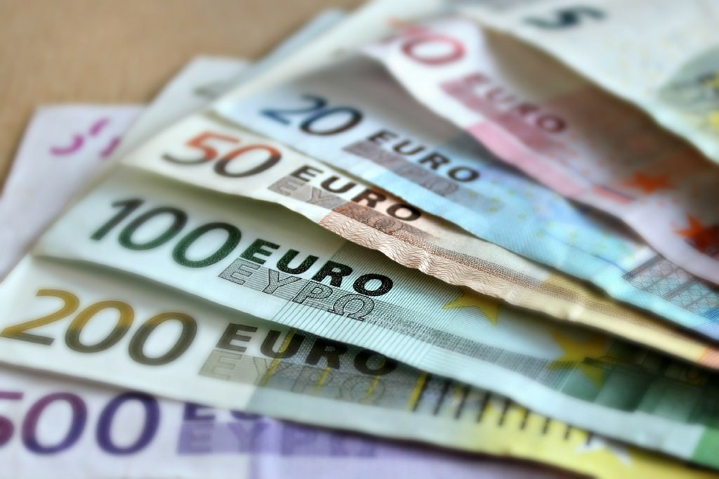Various Euro bank notes