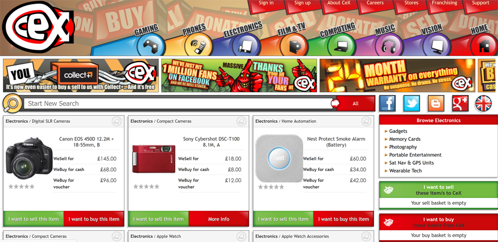 Screenshot of the Computer Exchange home page