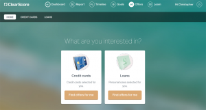 ClearScore credit card and loans offers