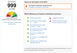 Experian Credit Expert overview screen
