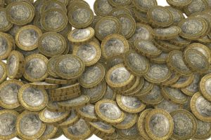 Pound coins in a heap