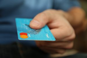A credit card being presented