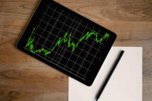 A foreign exchange trading chart on an Ipad