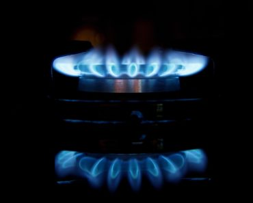 A gas burner on a stove