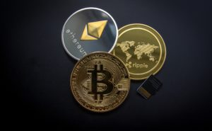 Bitcoin, Ethereum and Ripple concept