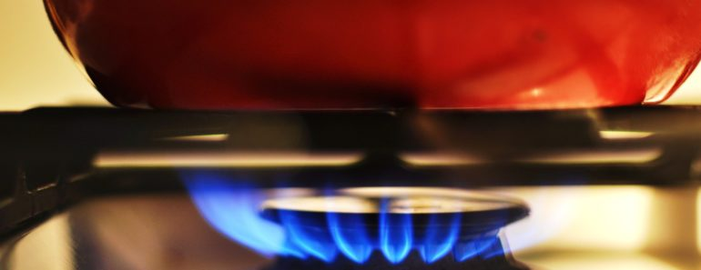 A pan on a gas hob