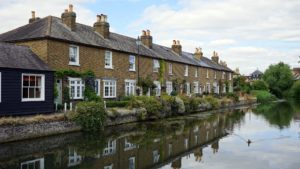 Houses alongside a river