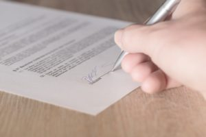 Signing a legal contract