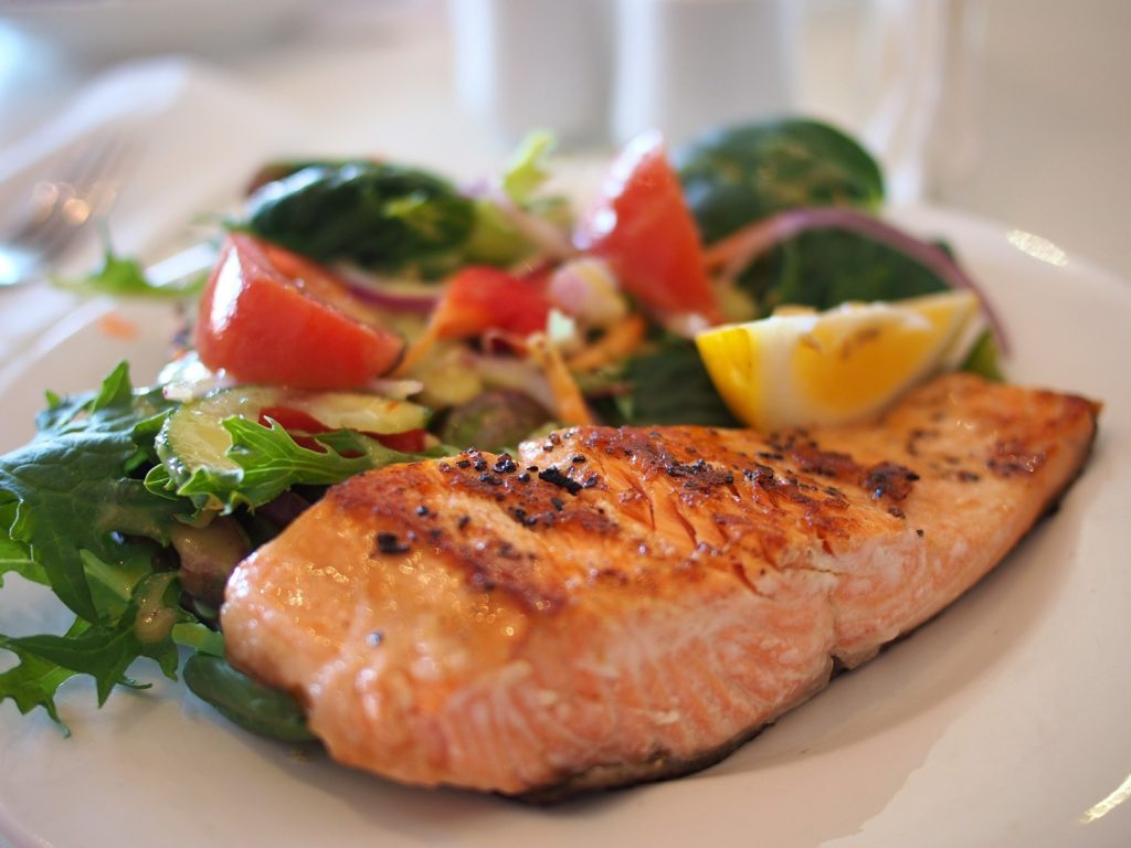 A healthy salmon meal