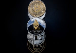 A conceptual image of some cryptocurrencies