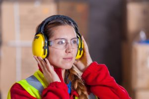 Woman employee and industrial safety