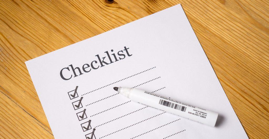 A checklist and a pen