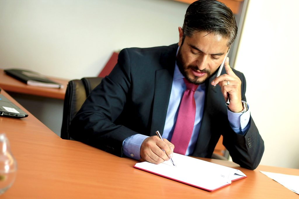 Using a mobile phone in an office