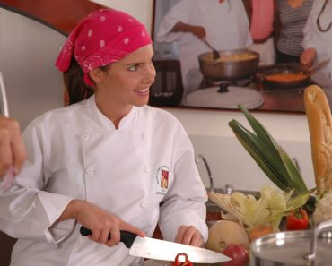 A female chef in a restaurant