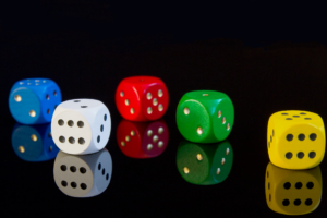 Five gambling dice