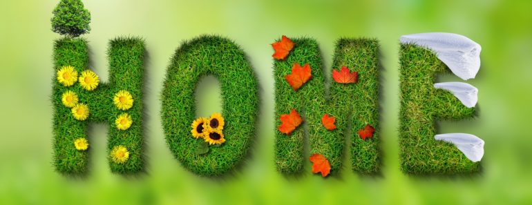 """""""Home"""" written with grass and flowers"""