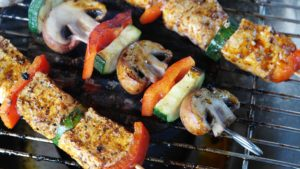 Kebabs grilling on a BBQ