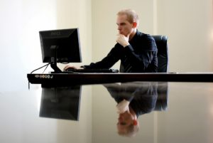 A businessman working at his desk