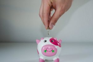 Putting money into a cute piggy bank