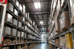 Pallet storage in a large warehouse