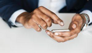 A businessman using a cellphone