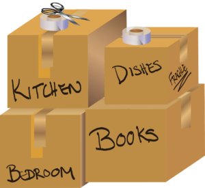 Moving boxes labelled for a house move