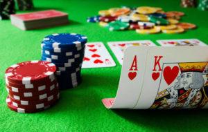 Gambling by playing poker in a casino