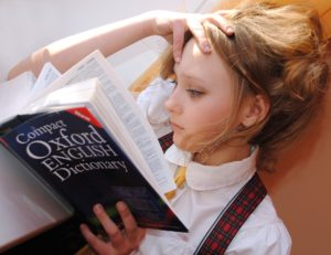 A woman studying her dictionary