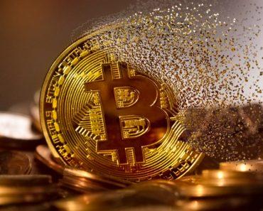 A Bitcoin crumbling concept