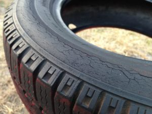 A damaged car tyre