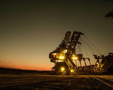 A mining excavator working in the dark