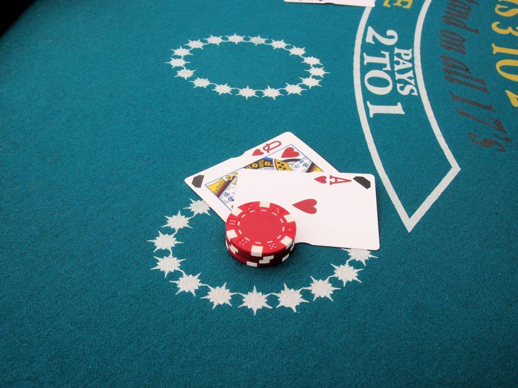 Blackjack cards in a casino