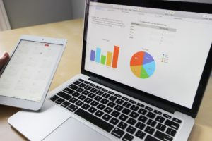 Business analysis using a laptop