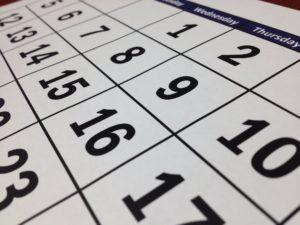 A close up of calendar