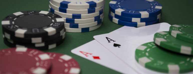 Poker gambling chips and playing cards