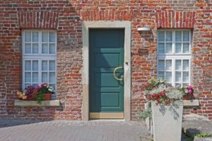 The front door of a picturesque house