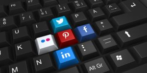 Social networking icons on a keyboard