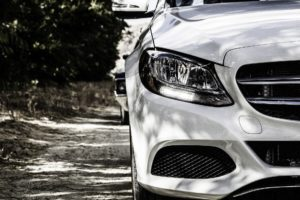 The front of a white Mercedes car