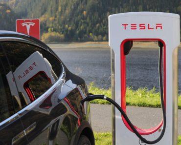 Charging a Tesla electric car