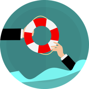 Handing a life ring to  person in the sea