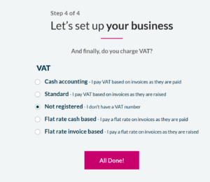 Sage Business Accounting VAT set up page