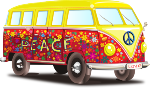 Volkswagen with peace written on the side
