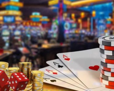 Gambling chips and playing cards in a casino