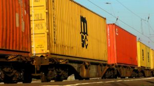 A freight train transporting containers