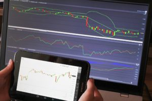 Trading charts on iPad and PC computer screens