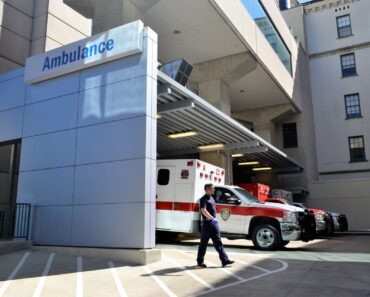 Ambulances outside a hospital emergency room
